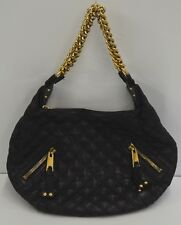MARC JACOBS Leather Quilted Banana Chain Hobo Black Bag
