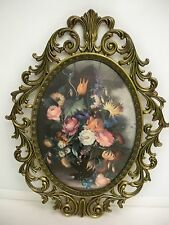 Vintage Italian Metal Frame With Floral Picture Scrolling Ornate With Convex Gl