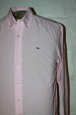 EUC Vineyard Vines Whale Shirt Pink Gingham Plaid Check Casual Sz S Small