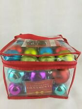 41 Balls Unbreakable Christmas Ornaments & Hooks Glittery Shiny Different Colors