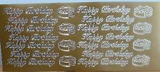 Peel Off Stickers - Gold - Happy Birthday - Cake Embellishments