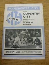 20/03/1971 Manchester City v Coventry City  (Punched Holes, Folded)