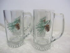 PERSIS CLAYTON WEIRS PINECONES GLASS MUGS (4) TALL 5 1/2""