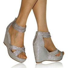 WOMENS LADIES DIAMANTE WEDGE MID HIGH HEELS BRIDAL SANDALS PARTY SHOES 451