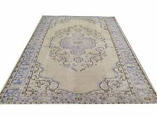 "9'7"" x 6'6""  CREAM BEIGE  purple blue oushak pastel Vintage Overdyed carpet rug"