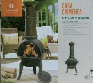 LargeCast Iron Chimenea:Cuba Log Burner Chimenea Patio Heater Tall Chiminea