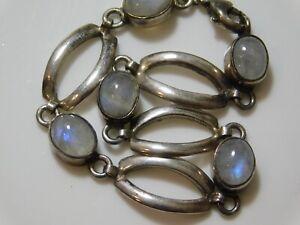 "Blue Moonstone Bezel Sterling Silver 925 Open Link 6.75"" Bracelet 11.5g  8i 27"