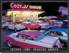 Lucinda Lewis Art Cozy Drive-In Diner Restaurant Metal Sign