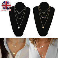 Infinity Layered Silver Gold Necklace With Disc and Bar UK Seller 2018UK