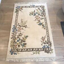 Fringed Wool Area Rug AMC Surya Carpet India Spring Garden Flowers 3.5x5.5'