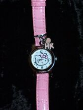 Hello Kitty Women's Watch Silver Charms Pink Leather Band Water Resistant Japan
