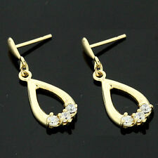 9ct Yellow Gold Fancy Cubic  Zirconia Dopper  Earrings GIFTBOXED