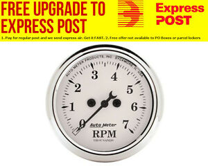 """Auto Meter Old Tyme White Tachometer 2-1/16"""", In-Dash, Electric, 0-7,000 rpm"""