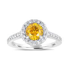 1.55 Carat Enhanced Fancy Yellow Diamond Engagement Ring 14K White Gold Halo