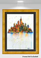 ORIGINAL PAINTING Cityscape Abstract Mid-Century Modern Art Surreal Psychedelic