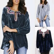 New Women Ladies Winter Long Sleeve Velvet Floral Embroidery Tunic Top Blouse