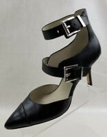 Michael Kors Tamara Heels Straps Buckle Logo Black Leather Womens Shoes Sz 6.5M