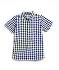 NWT Burberry Boys Gingham Check Dress Blue Shirt Sz 4 3 Top $110 Gift Easter