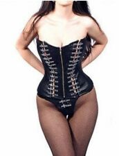 "XXS XS steel boned leather Corset 20"" goth Heavy Metal Punk Rock Biker Hd Tattoo"