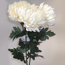 Conjunto de 3 tallos de flores artificiales Crisantemo grande de 89cm-Crema-Calidad Superior