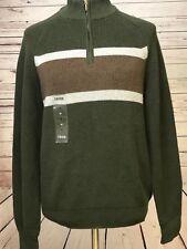 Izod Quarter Zip Down Pullover Sweater Men's Love Sleeve Green Striped  New NWT
