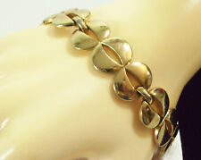 MONET Shiny Gold Plated Link Bracelet Openwork Safety Chain Cuff Vintage Classic