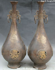 "17"" Chinese Fengshui Bronze Silver Gilt Dragon Flower Vase Bottle Pair Statue"