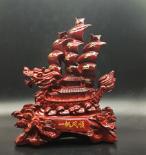 Red beautifully hand-carved wooden statue of dragon boat smooth sailing a6027