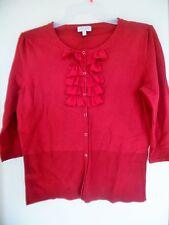 FASHION BUG Red Ruffle Cardigan Sweater Sz XL