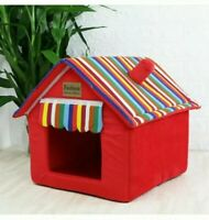 Large Red Indoor Fabric Pet Cat Puppy Dog House Home Shelter Kennel Bed Cave U