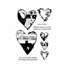 """DINA WAKLEY - Media Cling Stamps 6""""X9"""" - Collage Hearts"""