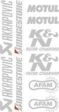 x10 belly pan Sponsor logo Stickers Akraprovic Bridgestone Motul Afam Silver 07