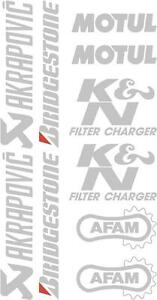 x10 belly pan Sponsor logo Stickers Akraprovic Bridgestone Motul Afam Silver 07