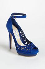 New 9.5 / 39.5 Jimmy Choo Kista Blue Suede Cut Out Ankle Sandal Pump Shoes
