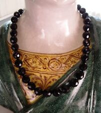 """10mm Bead Necklace 16"""" Vintage Faceted Jet Glass"""