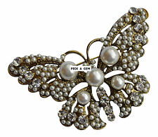 Vintage Style Gold Seed Pearl Butterfly Brooch Bouquet Wedding Gift Boxed New