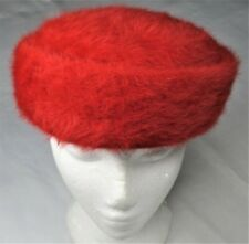 Vtg Fluffi By Marida Womens Pillbox Hat Red England-Made Angora Wool 1950s Retro