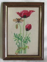 """Red poppy flower & bumble bee finished cross stitch framed 5"""" x 7"""""""