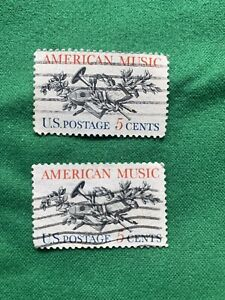 2 American Music 5 Cent Stamps Both In Great Shape