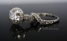 Real 14k White Gold Halo style Wedding Matching Band Engagement Ring Set 2.75ct