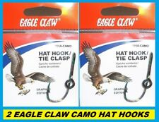 2 EAGLE CLAW CAMO HAT HOOKS NEW! Hat Pin/Tie Clasp #155A-CAMO FISH HOOK HAT PINS