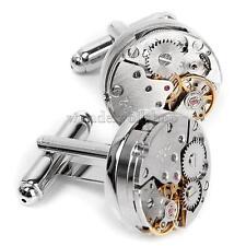 Elegante Manschettenknöpfe Cufflinks Steampunk Uhrwerk Form Herren Schmuck