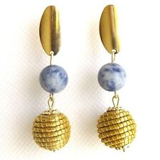 CAPIM VEGETABLE GOLD EARRINGS NATURAL GOLDEN SPHERE GLOBE BALL BLUE SOADALITE