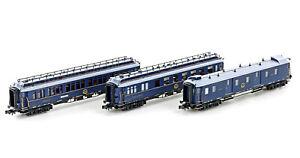 Hobbytrain H22107 N Gauge 3er Set Passenger Car Ciwl , Ep. II, Set 2, Blue