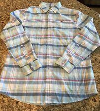 Vineyard Vines Boys Whale Shirt Cedar Point Plaid Jake Blue Size Large (16) Nwt