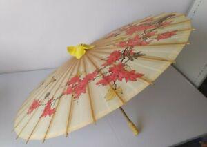 Vintage Chinese Parasol Umbrella Bamboo Rice Paper Flowers Oriental Prop