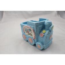 Vintage Inarco Japan Ceramic Vase/Planter Blue & Pink Car w/flowers CB-2048