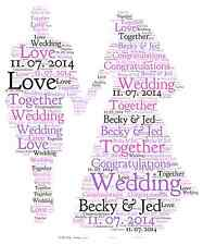 Personalised Word Art Print couple wedding day wedding congratulations gift card