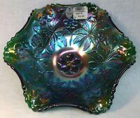 Fenton Art Glass Emerald Green Carnival Caroline Dogwood Bowl
