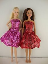 Set of Two Beautifully Done Sequined Party Dresses in Red & Pink For Barbie